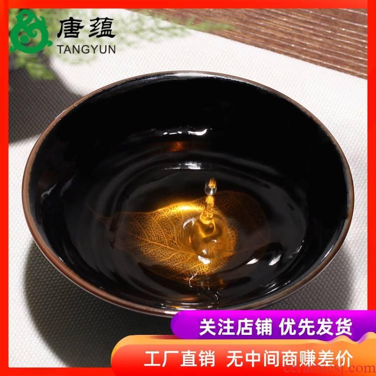 Jizhou up heart sutra cup konoha lamp that kung fu tea tea set built light ceramic cups, teapots master cup single cup bowl
