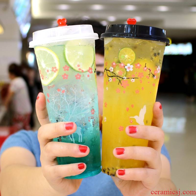 Milk tea cups with cover 700 ml500 web celebrity juice ultimately responds cold ultimately responds cup 90 diameter plastic cup.