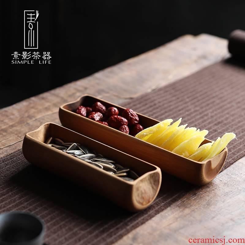 Plain film creative bamboo dried fruit snack plate of bamboo tea snacks receive a box of tea dessert plate