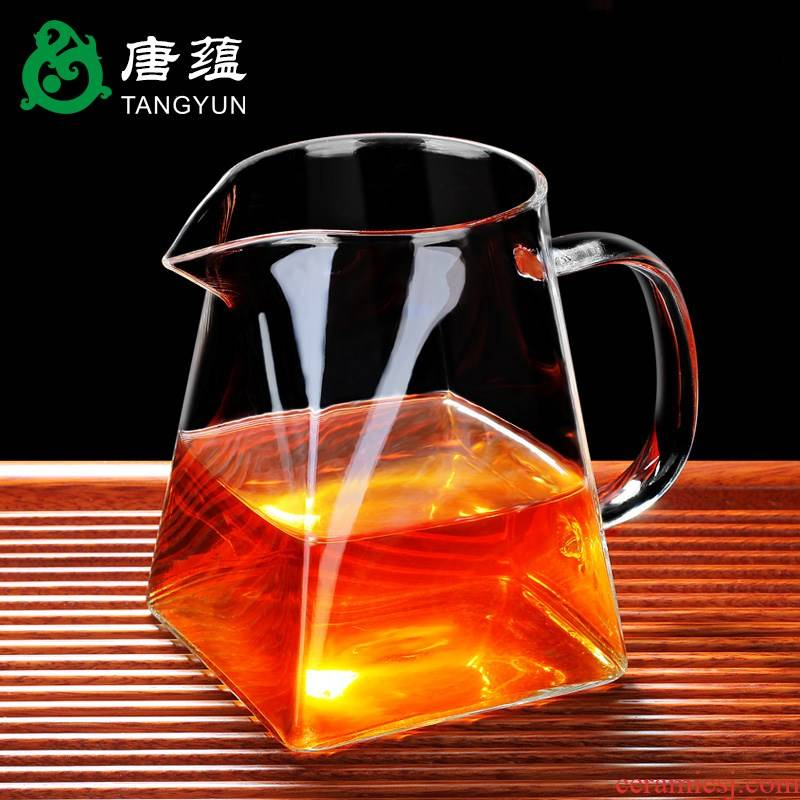 More reasonable glass cup and cup) suit one heat large sea points tea kungfu tea accessories