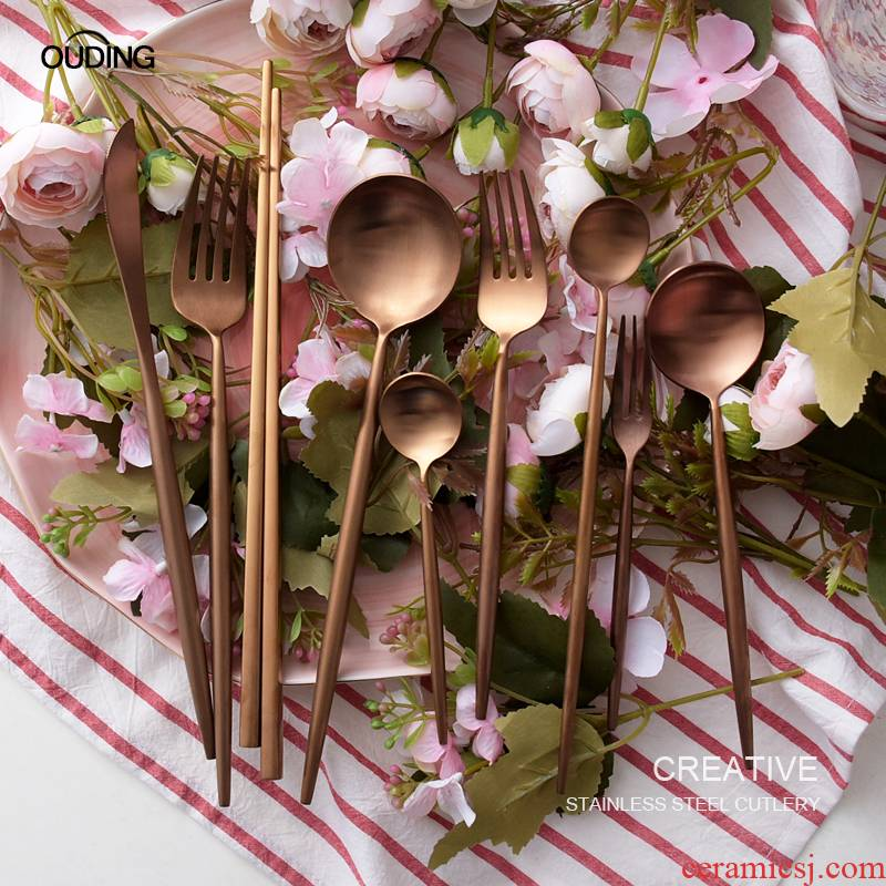 OUDING dumb light rose gold knife and the fork of two - piece 304 stainless steel tableware steak knife and fork spoon, dessert spoon, chopsticks
