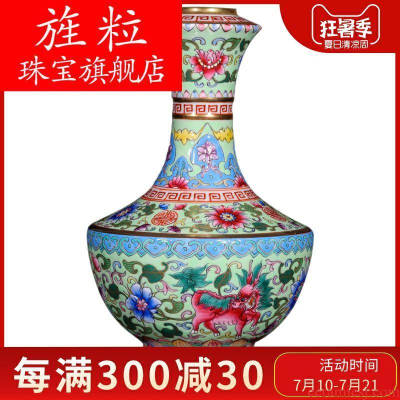 Fa jingdezhen ceramics antique hand - made the see colour green kirin enamel vase sitting room porch handicraft