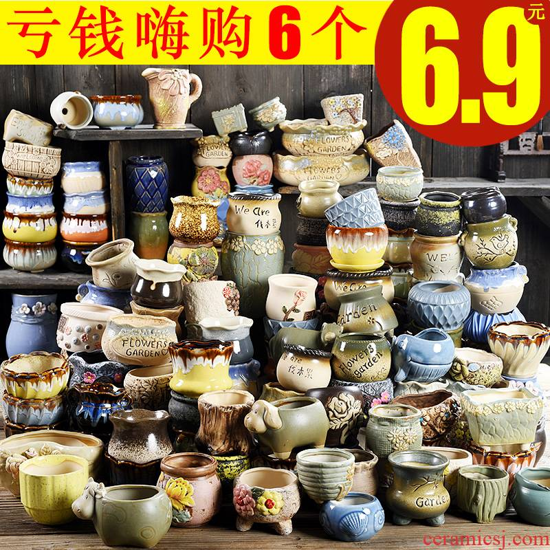 Fleshy flowerpot ceramic clearance sale small character of large diameter potted plant household creative coarse pottery breathable