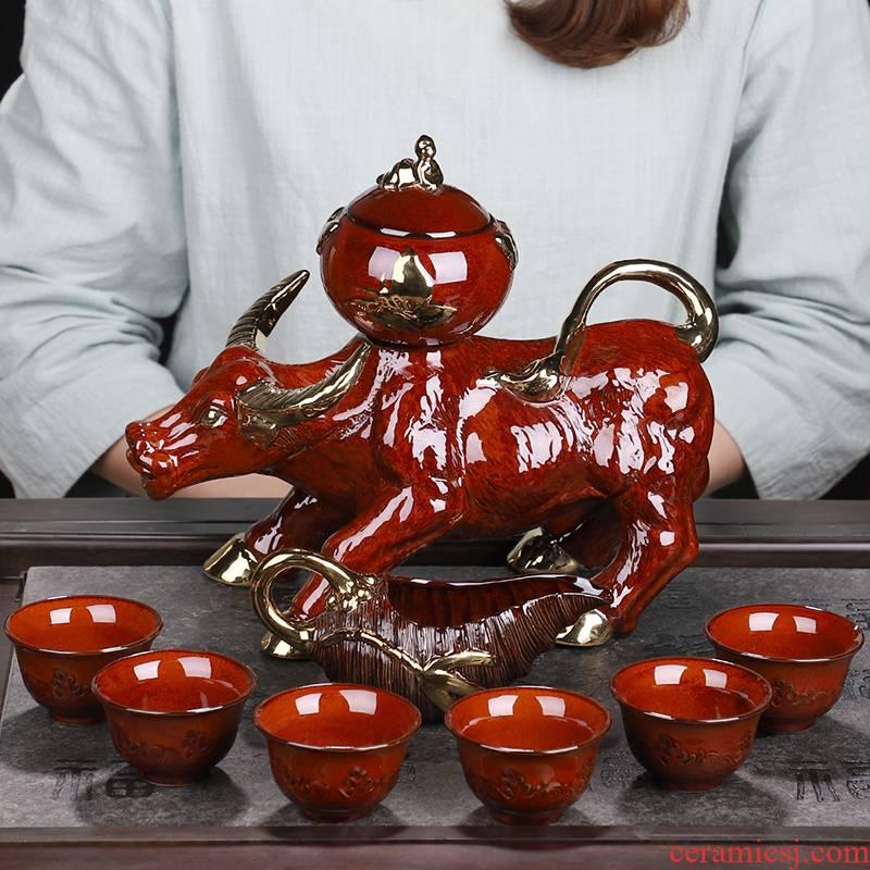 Variable automatic tea set home lazy rotating kung fu teapot teacup tea sea office tea sets