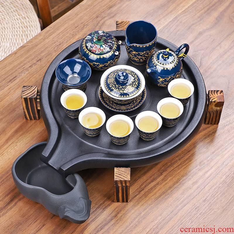 Purple sand tea set household kung fu ceramic teapot water storage tea tray tea solid wood, ceramic tea tea table