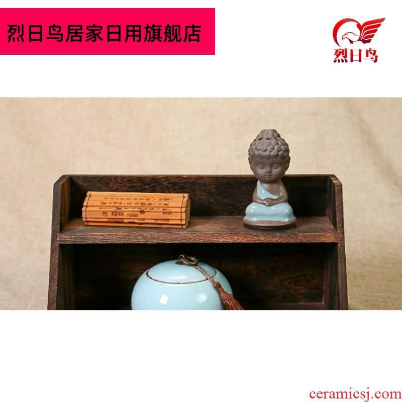 Burn paulownia wood tea set tea pot receive small treasure cabinet shelf rich ancient frame hanging wall 2 framework