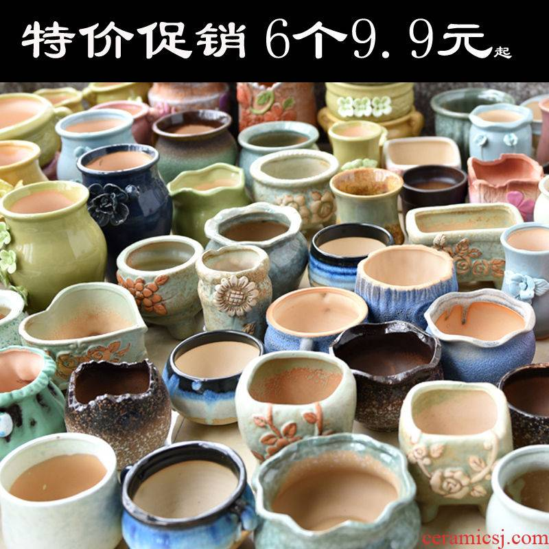 Restoring ancient ways more coarse pottery flowerpot ceramic more meat the plants biscuit firing violet arenaceous creative household size contracted special offer a clearance