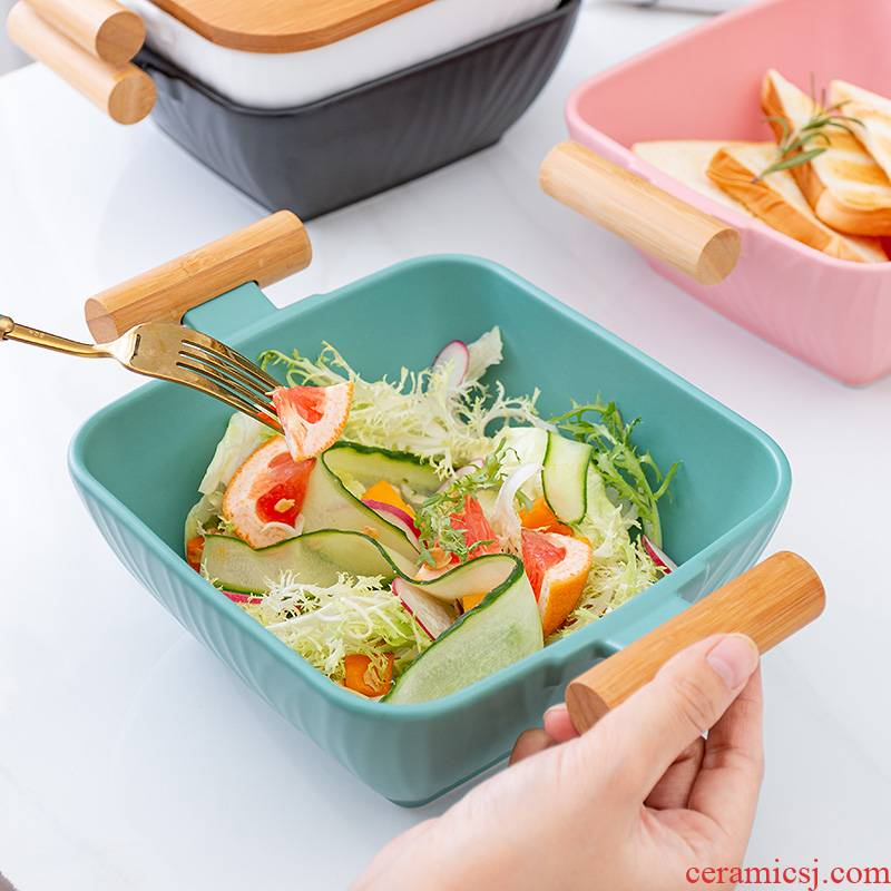 Nordic ceramic ears bamboo prevent hot soup bowl household utensils large fruit salad bowl with the wooden cover soup basin
