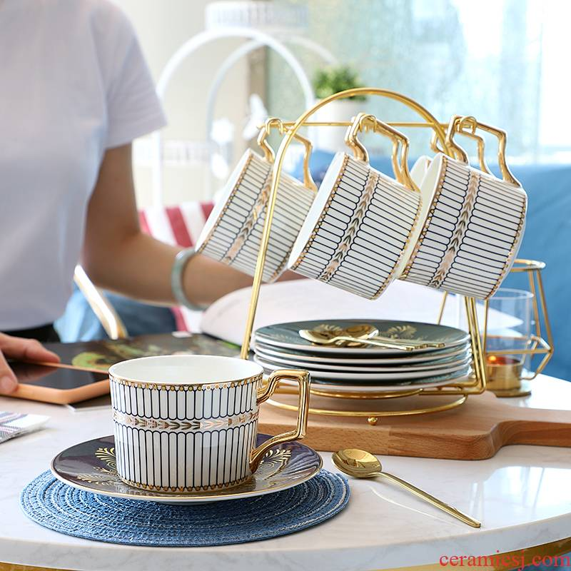 European coffee cup suit small key-2 luxury simple coffee cup 6 sets new household ceramic coffee cups and saucers spoon