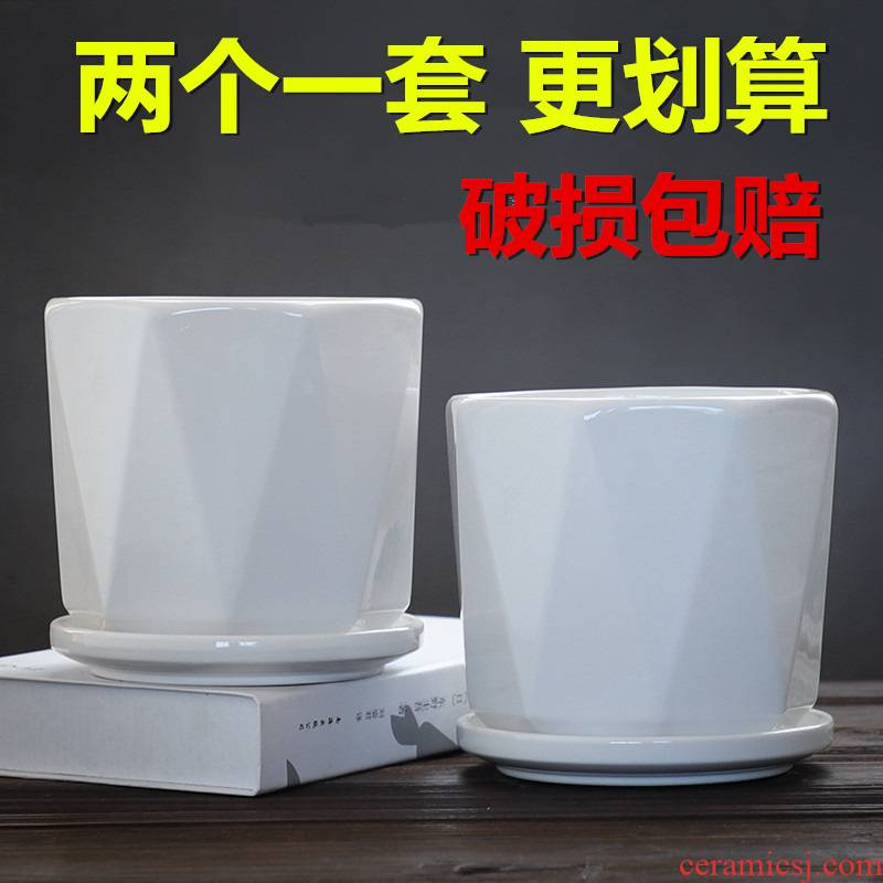 Flowerpot ceramic two a contracted white take tray was most creativity and other special offer a clearance, the Flowerpot