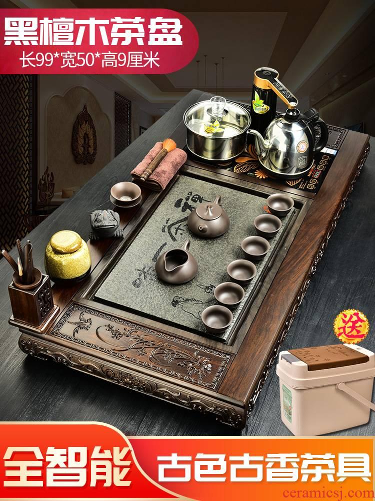 The beginning day, kung fu tea set home office with four unity ebony sharply stone tea tea tea tray