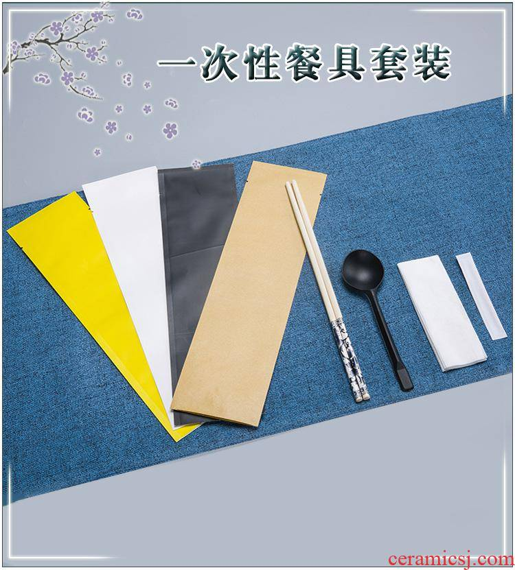 Three or four times take - away the disposable chopsticks tableware black spoon tissue health chopsticks toothpicks sets four one custom