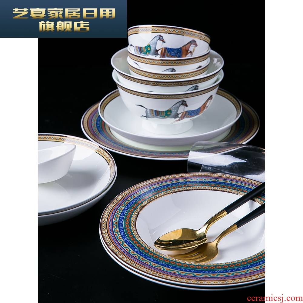3 PLT dishes suit household web celebrity 10 bowl of jingdezhen bowls of ipads plate plate trill northern Europe