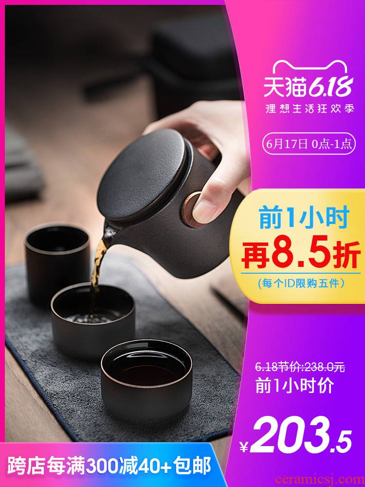 Travel kung fu tea set with crack suit portable BaoHu outside a pot of three Japanese ceramic teapot