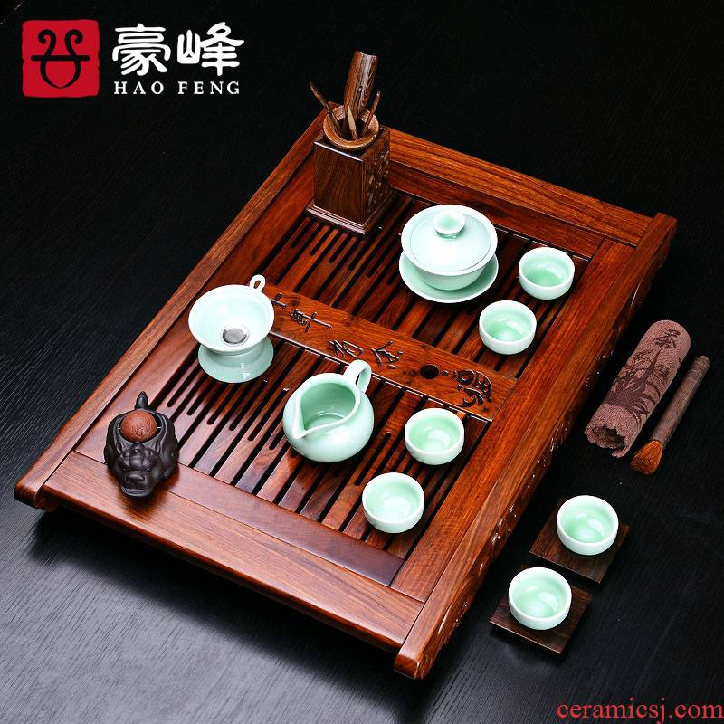 HaoFeng hua limu celadon of a complete set of tea set celadon kung fu tea set hua limu tea tray was solid wood pallets