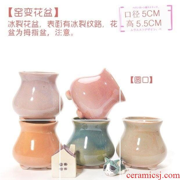 Mother fleshy small ceramic flower pot thumb mini breathable plant creative flower pot in the desktop furnishing articles contracted
