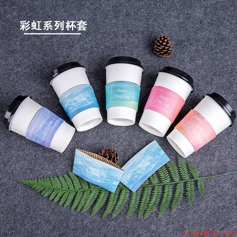 Paper workshops the disposable coffee cups corrugated heat insulation cup set of tea cups hot Paper cups set of custom LOGO