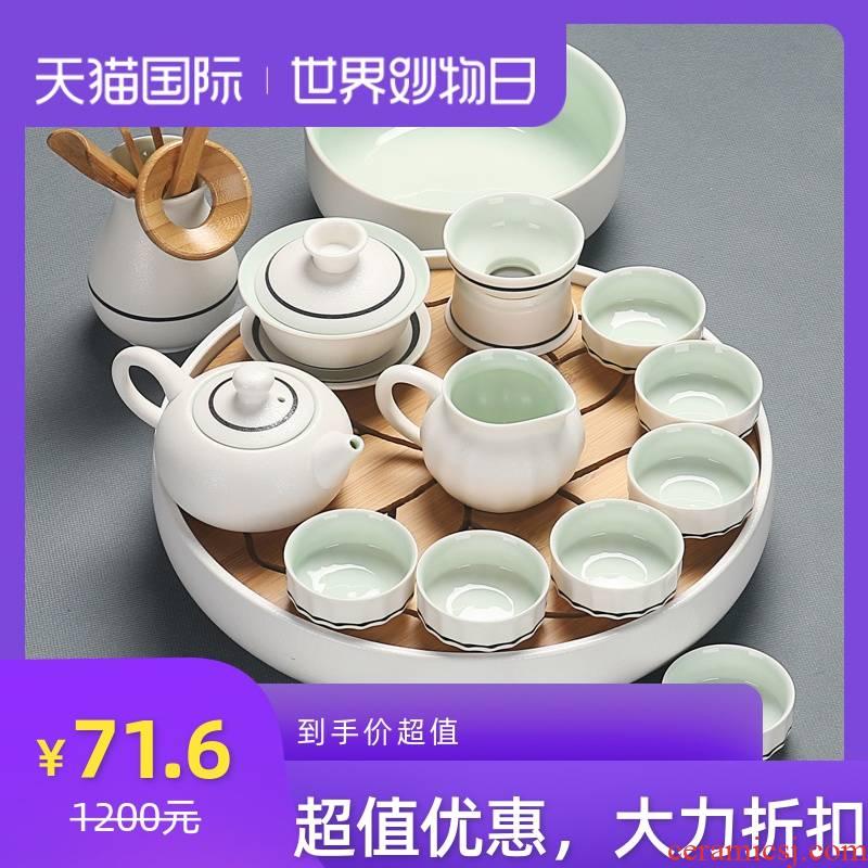 The teapot GaiWanCha sea tea cups to wash The tea taking household white celadon ceramic tea set a complete set of kung fu tea set