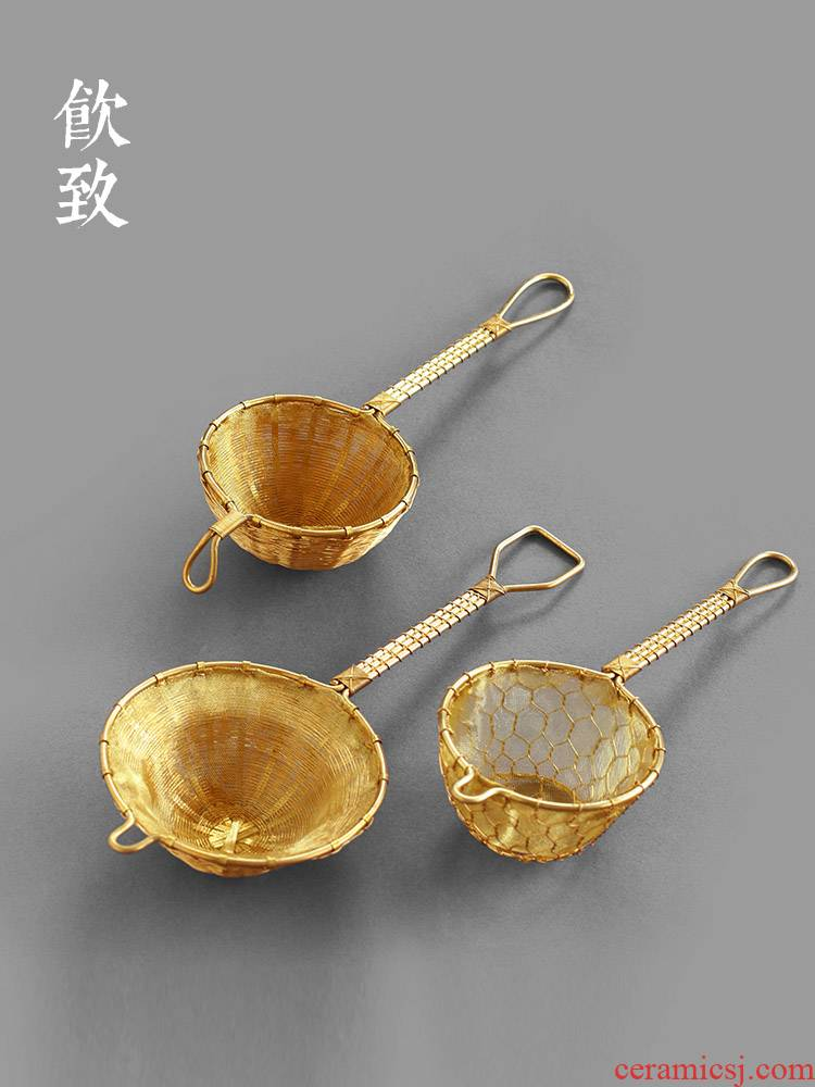 Ultimately responds pure hand - woven copper) tea filter Japanese pure copper handle filter good creative kung fu tea set