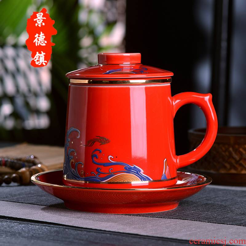 Jingdezhen ceramic cups with cover bladder tea cup tea cup filter glass gifts home office