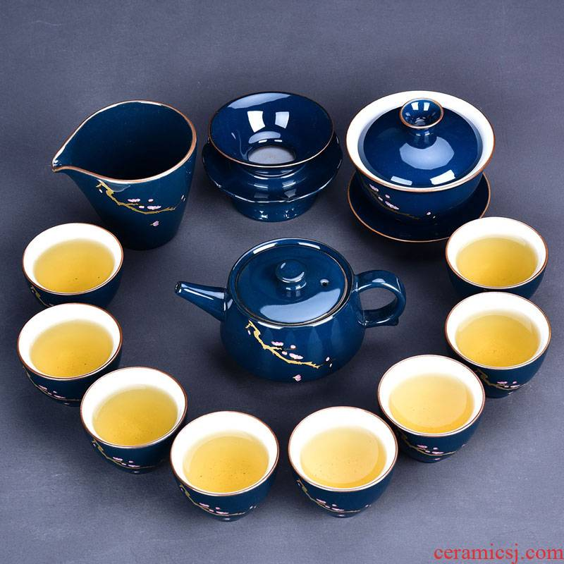 Ceramic kung fu tea set suit household contracted teapot teacup tea sea tureen tea accessories) group