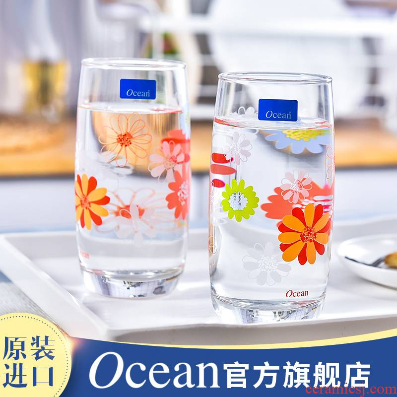 Imported from ocean gulls hin Pyrex glass printing glass domestic cup milk cup three suits for