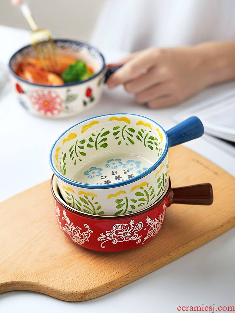 Japanese take a small bowl with the handle a single children 's creative students, lovely tableware ceramics super bowl of soup bowl