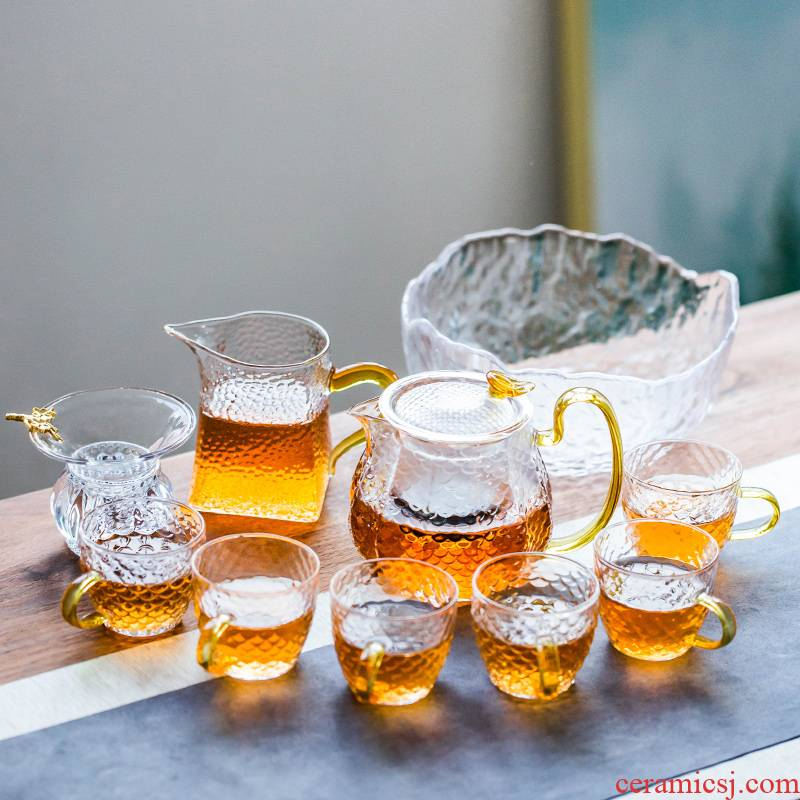 Japanese transparent glass tea set of dry teapot household small set of simple filtering high temperature hold of tea cups