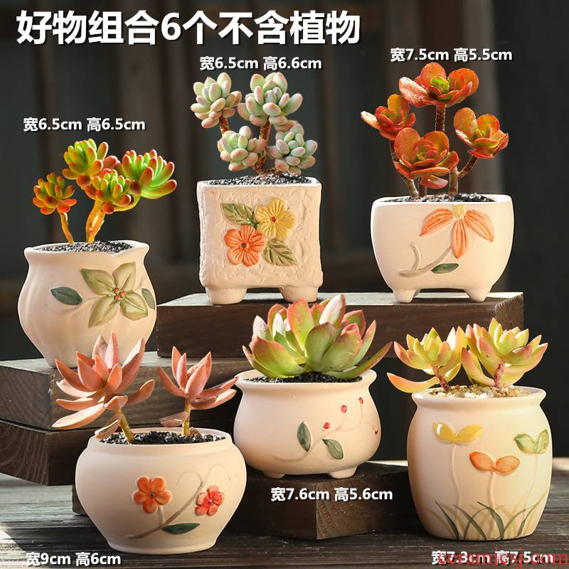 The Fleshy ceramic special offer a clearance coarse pottery flowerpot retro biscuit firing violet arenaceous creative size diameter meat meat the plants flower pot