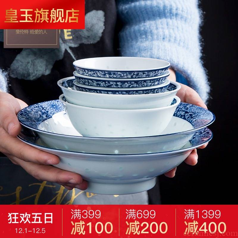 8 PLT jingdezhen blue and white porcelain tableware suit exquisite glair Chinese dishes dishes suit household gifts