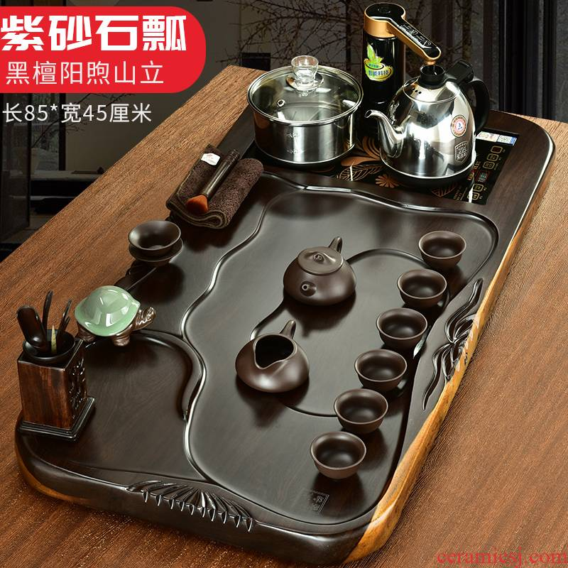 The beginning day, The tea set home a whole plate automatic snap ebony wood tea tray was violet arenaceous kung fu tea set
