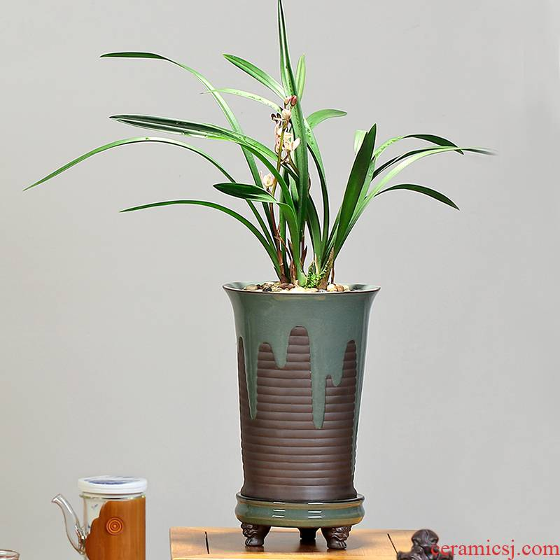 Special ceramic coarse pottery flower of bracketplant of the breathable violet arenaceous green plant high pot restoring ancient ways of creative move clay large - sized preferential