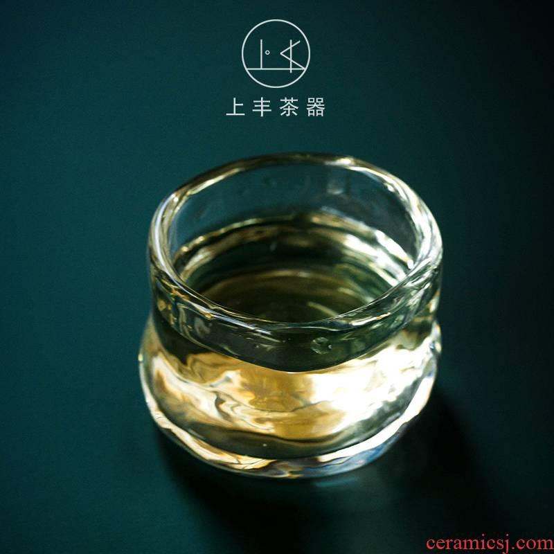 An Abundant Chinese coloured glaze teacup on individuality creative masters cup of heat - resistant glass sample tea cup single cup tea kungfu tea set