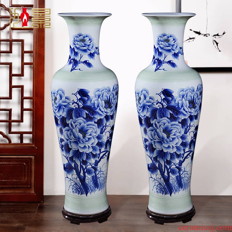 Hand the blue and white porcelain of jingdezhen ceramics 1 meter of large vases, large sitting room hotel a housewarming furnishing articles