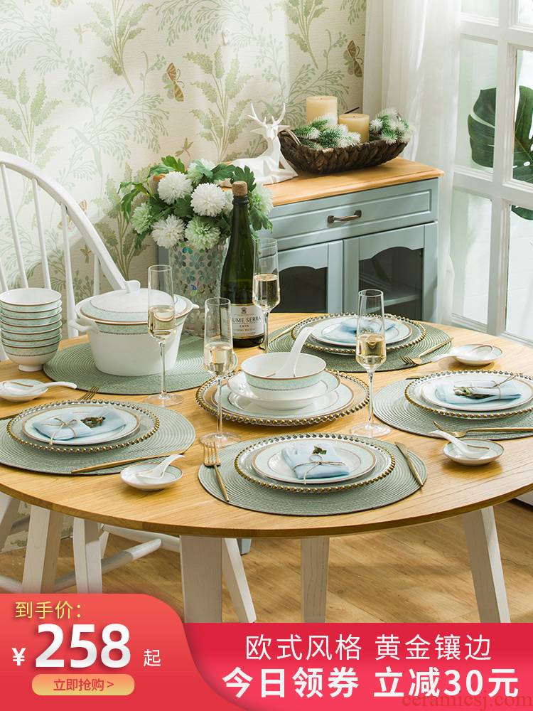 The dishes suit household jingdezhen ceramics tableware ceramic dinner plates yellow gold chopsticks microwave combination