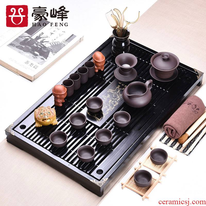 HaoFeng violet arenaceous kung fu tea set home office contracted the drawer of a complete set of solid wood tea tea tea set