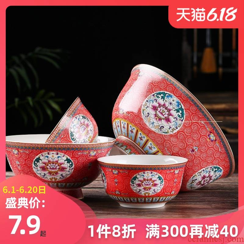 Jingdezhen ceramic prevent hot tall bowl dishes suit Chinese style household archaize longevity bowl bowl of a single ipads porcelain enamel bowl