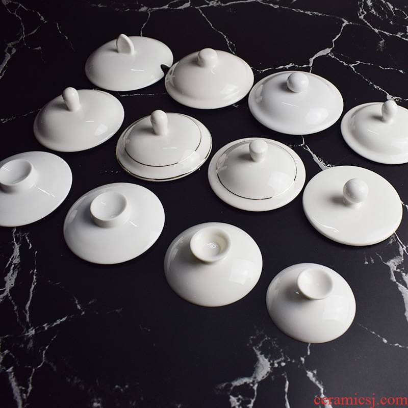 BQ with handle cup lid up phnom penh ceramic water bowl cover medium size white glossy cover lid kung fu