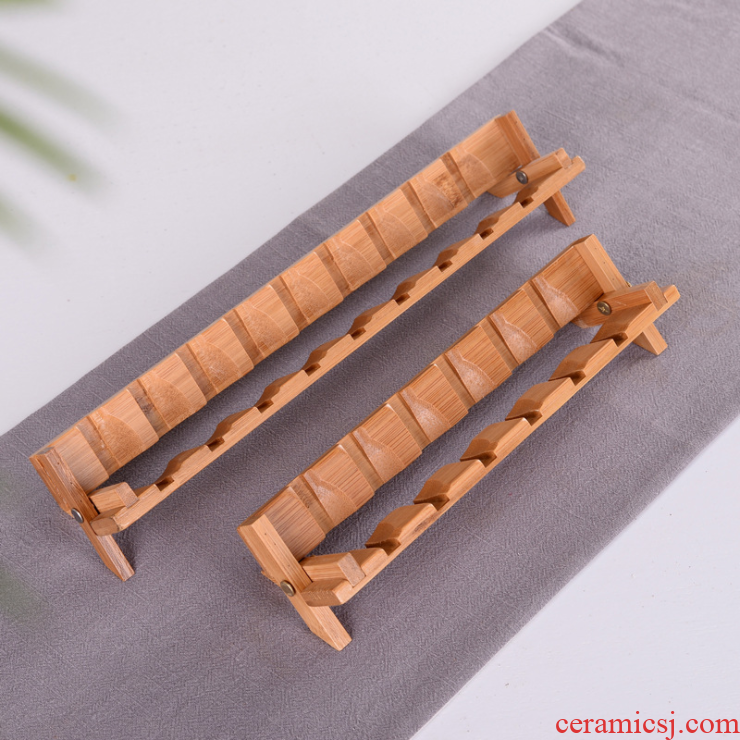 T receive bamboo tea beverage holder drying beverage holder kung fu tea tea cup cup put shelf rack tea tray