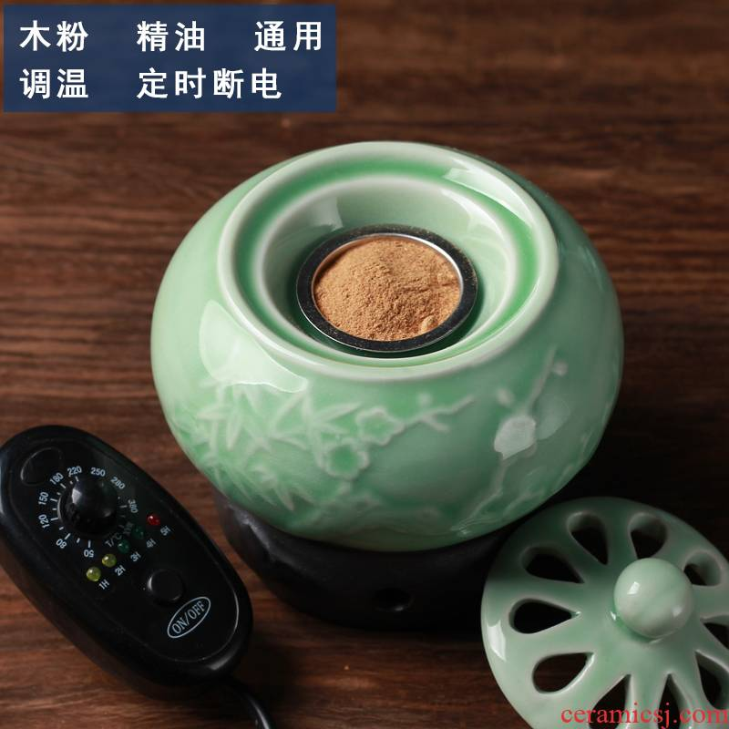 Timing electronic smoked incense buner temperature ceramic extract oil lamp sawdust powder cover indoor household aloes plug-in small ta