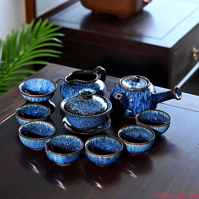 Ceramic up built light tea set home stone mill masterpieces teapot kung fu tea tea red glaze, making tea
