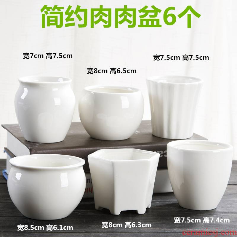 Six a flowerpot ceramic contracted white meat meat plant combination suit of special offer a clearance fleshy small flower pot