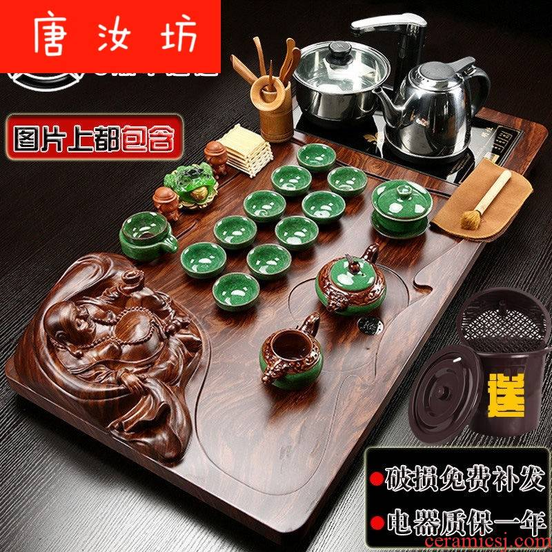 Y real wood of a complete set of kung fu tea set tea tray household contracted with an induction cooker ceramic tea sets tea mixture of sea