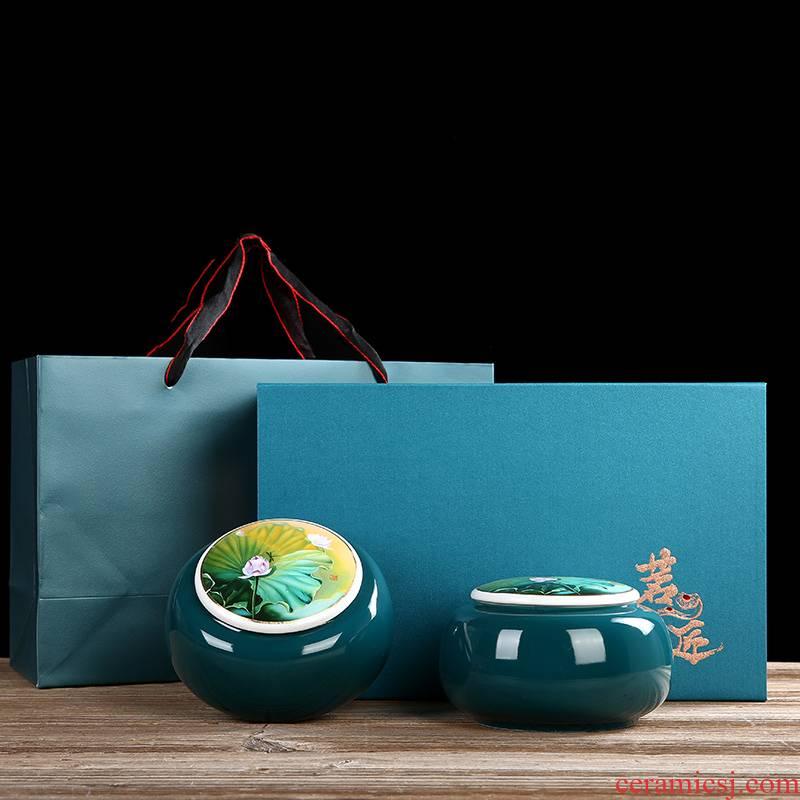Hong bo acura ceramic household pu 'er tea pot of green tea caddy fixings sealed jar of gift boxes