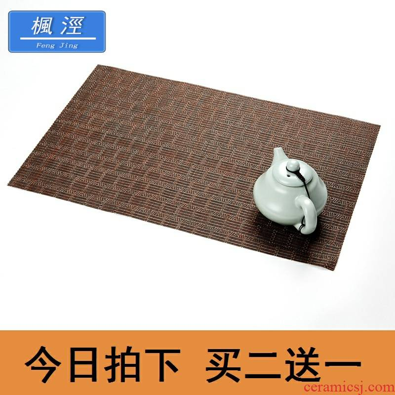 Tea shops Tea table Tea tray mat teahouse Tea Tea Tea set straw mat Tea table cloth round table seats filter Tea table