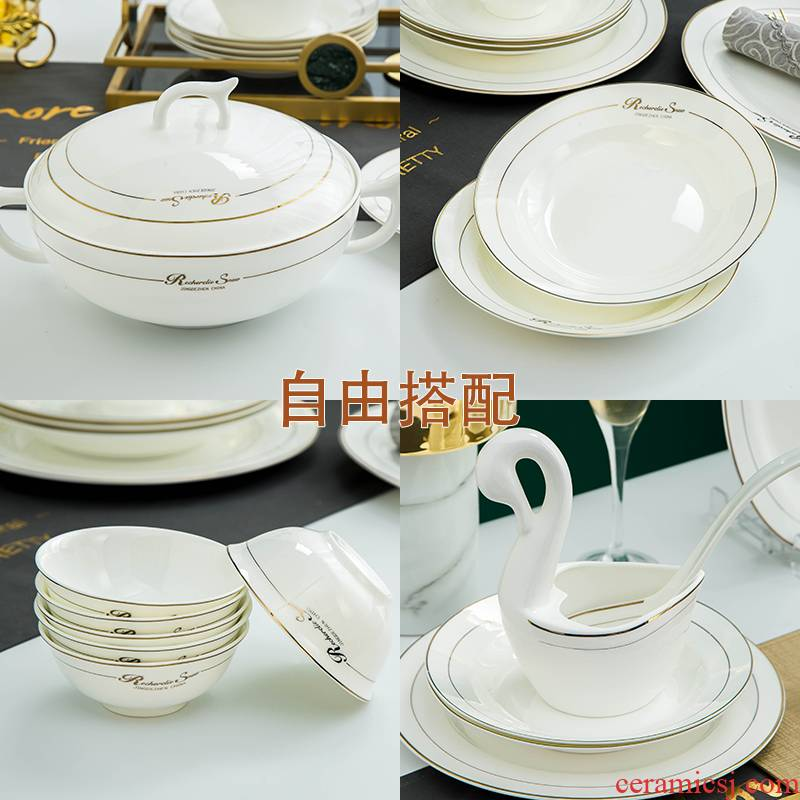 Jingdezhen porcelain tableware ipads plate of household rice bowls western food steak dish dish dish suits for rainbow such as bowl chopsticks mercifully