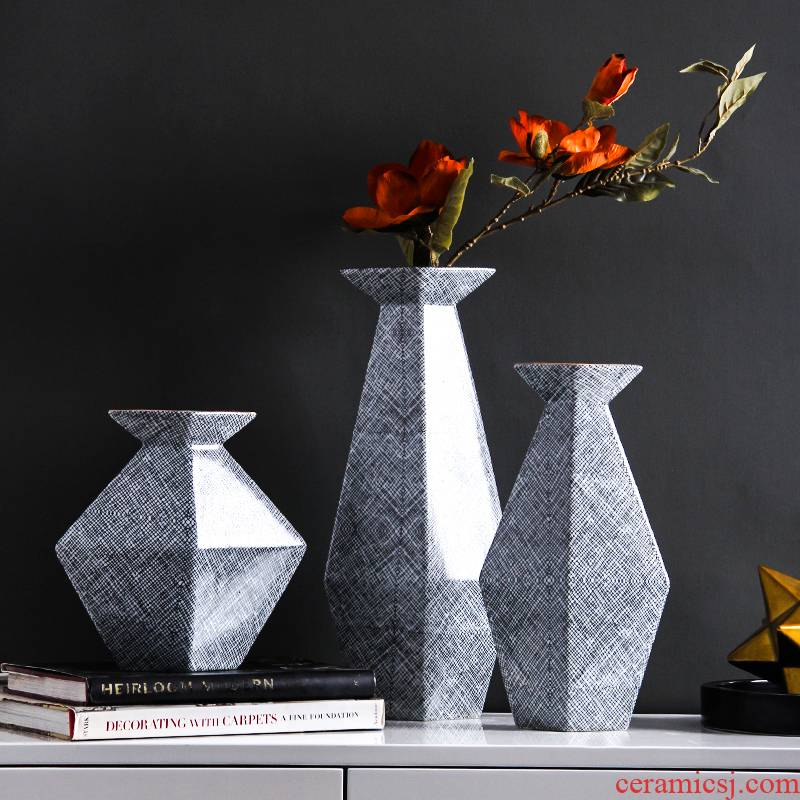 I geometry creative contracted ceramic vase furnishing articles sitting room arranging flowers, dried flowers, table household soft adornment