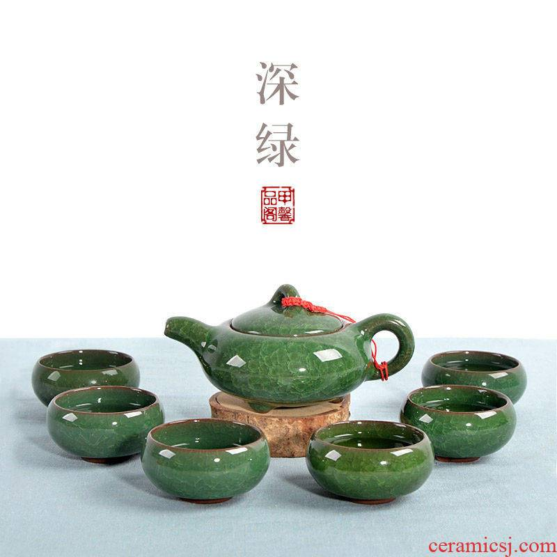 JiaXin colorful ice crack glaze tea, green tea cups and a complete set of ceramic teapot kung fu tea set
