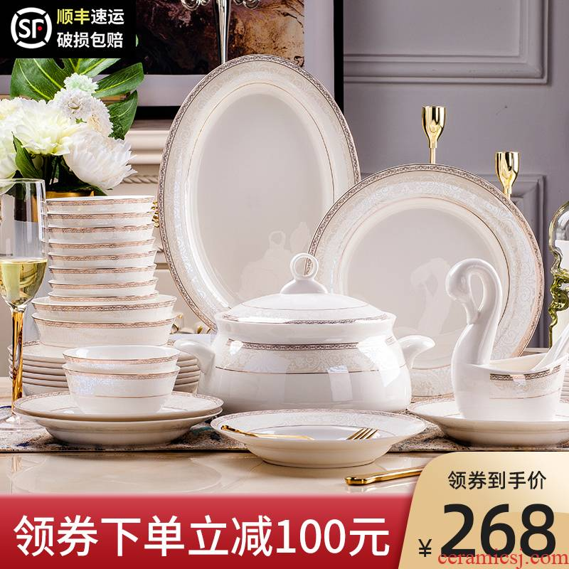 Dishes suit household European - style up phnom penh jingdezhen ceramic tableware Dishes ipads porcelain tableware suit contracted to use chopsticks