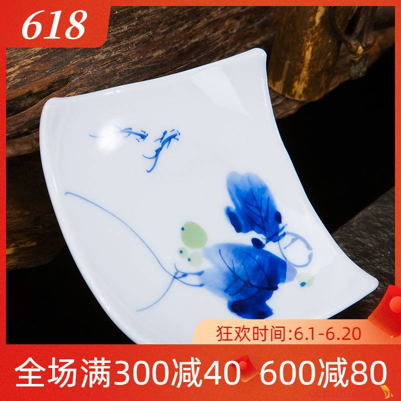 Folk artists hand - made pastel blue and white porcelain cup a saucer of jingdezhen ceramic prevent hot cup mat insulation cup